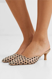 Swiss-dot mesh and leather mules