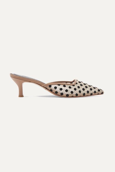 Swiss Dot Mesh And Leather Mules by Salondeju