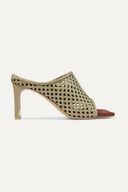 salondeju Laser-cut leather and suede mules