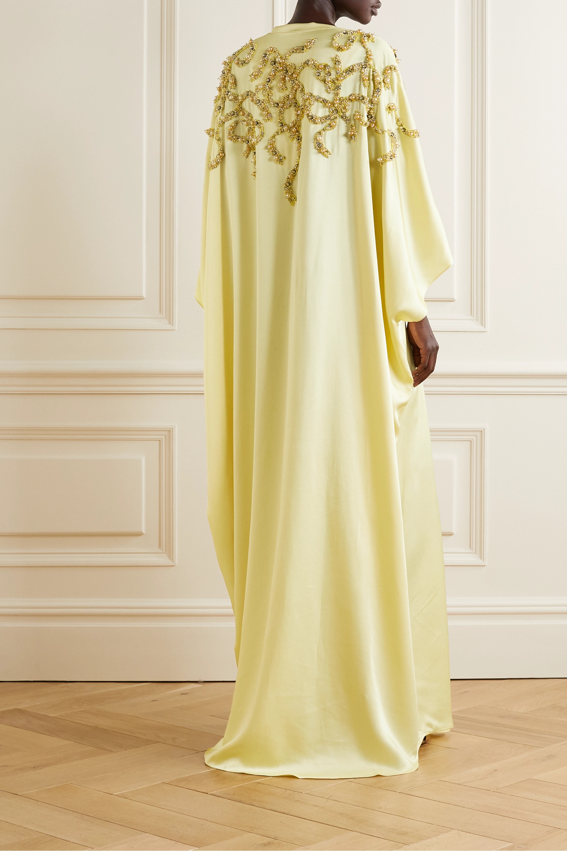 Marchesa Belted embellished satin gown