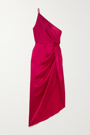 Michelle Mason One-shoulder asymmetric twisted silk-satin dress
