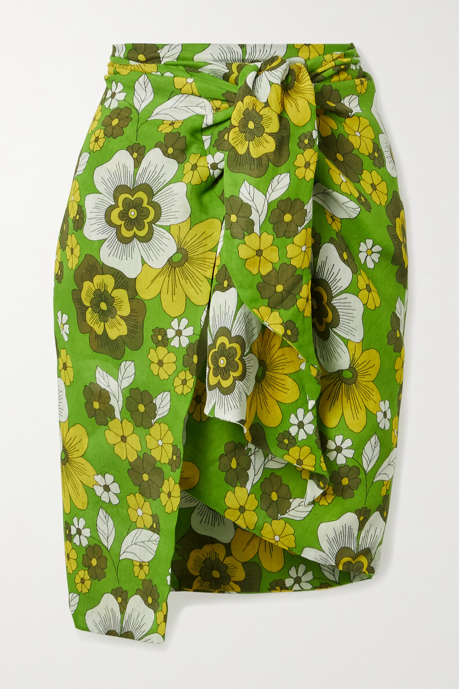 Dodo Bar Or Mosa floral-print tie-front cotton-voile mini skirt