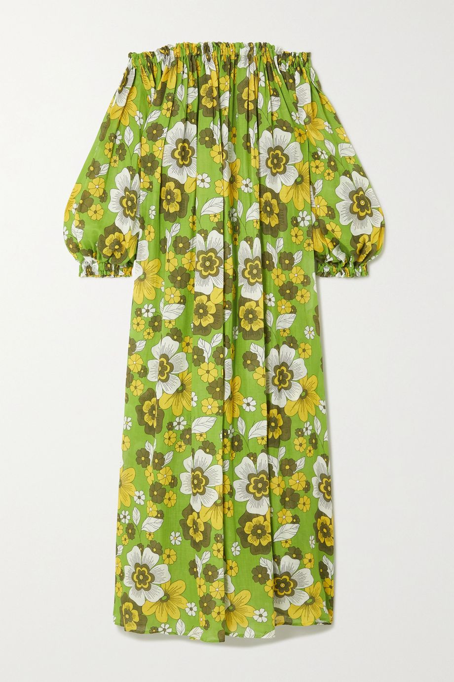 Dodo Bar Or Julie off-the-shoulder gathered floral-print cotton-voile maxi dress