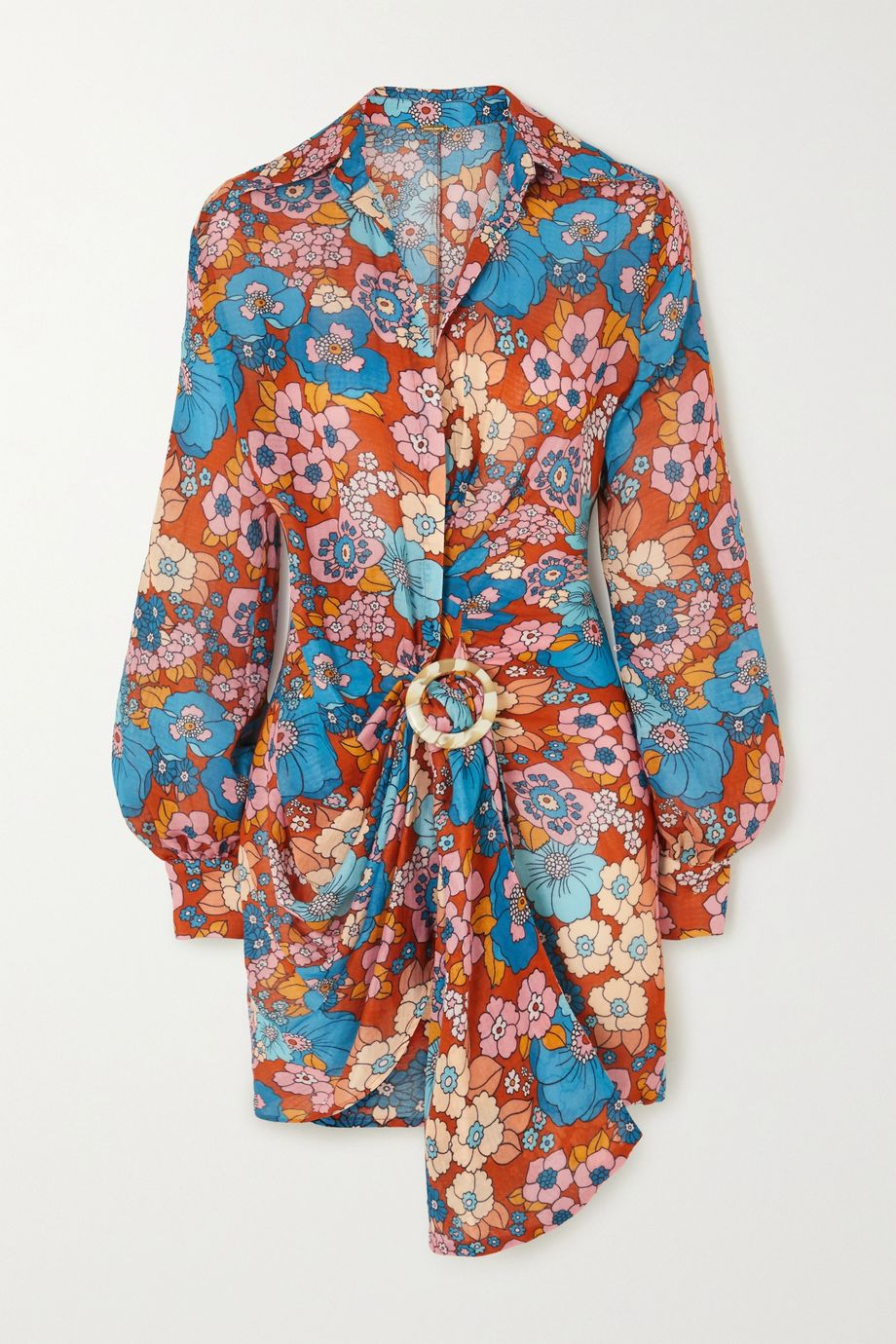 Dodo Bar Or Lora embellished gathered floral-print cotton mini dress
