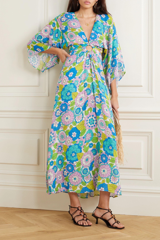 Turquoise Robe Longue En Voile De Coton A Imprime Fleuri Et A Decoupes Shelly Dodo Bar Or Net A Porter