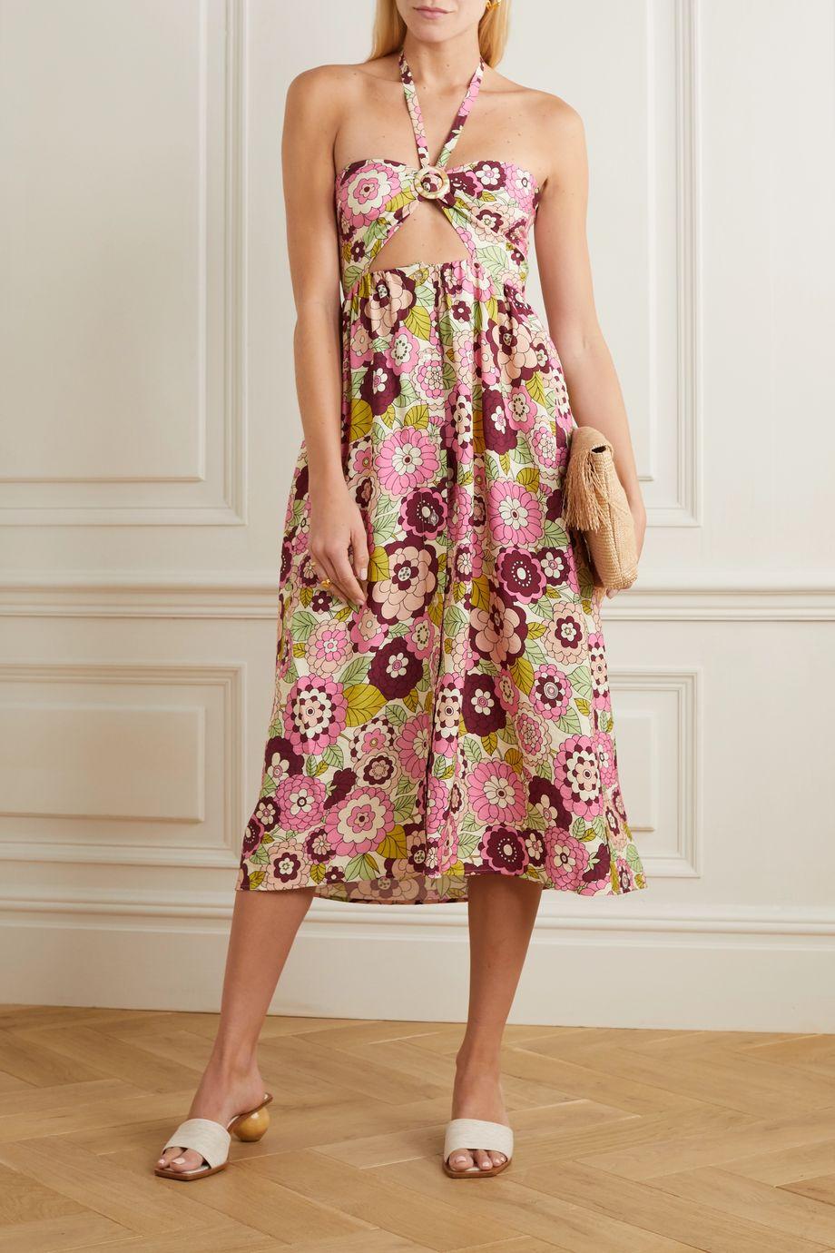 Dodo Bar Or Karen cutout floral-print jersey halterneck midi dress