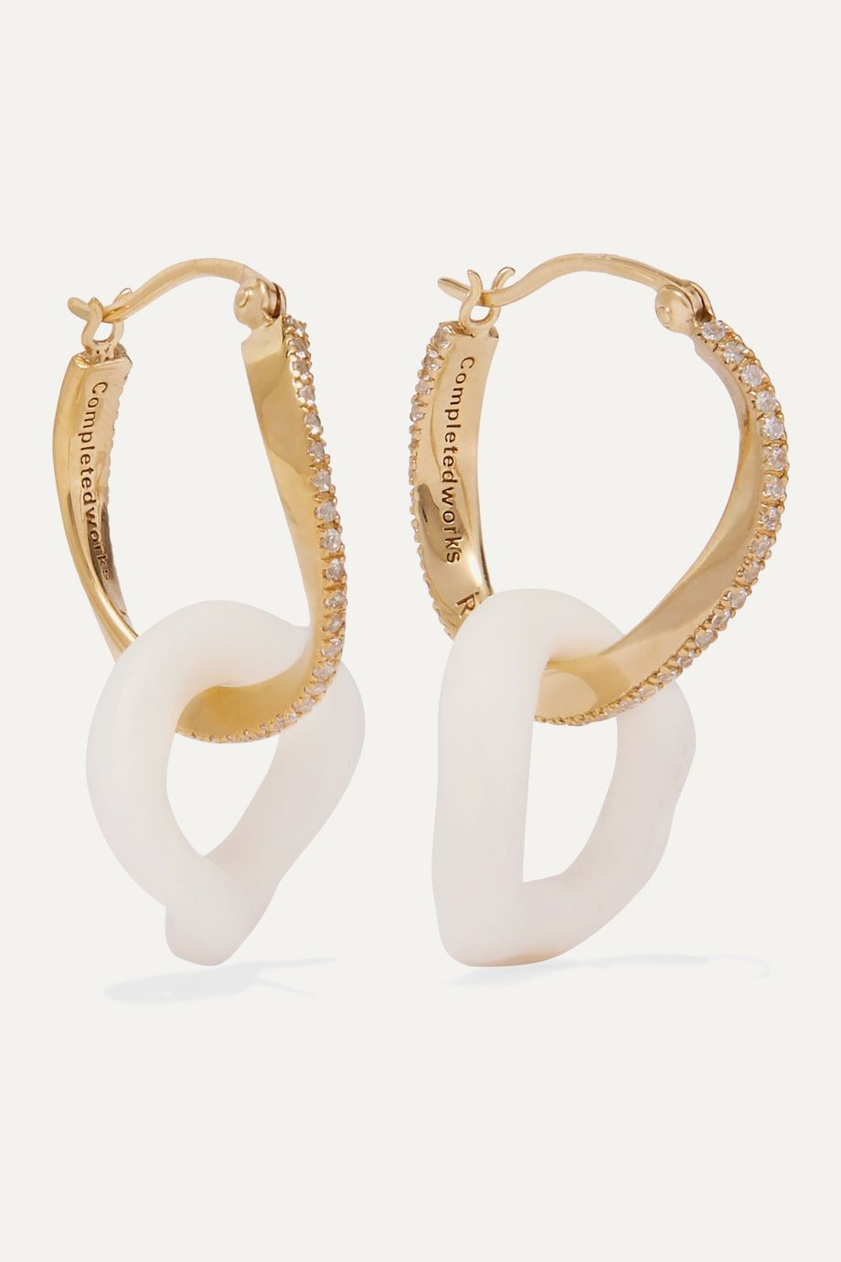 Completedworks Flawed Logic gold vermeil, topaz and ceramic earrings