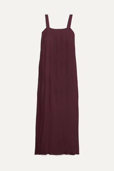 Pleated Crepe De Chine Maxi Dress by Le 17 Septembre