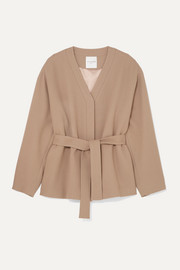 Belted wool-blend crepe jacket