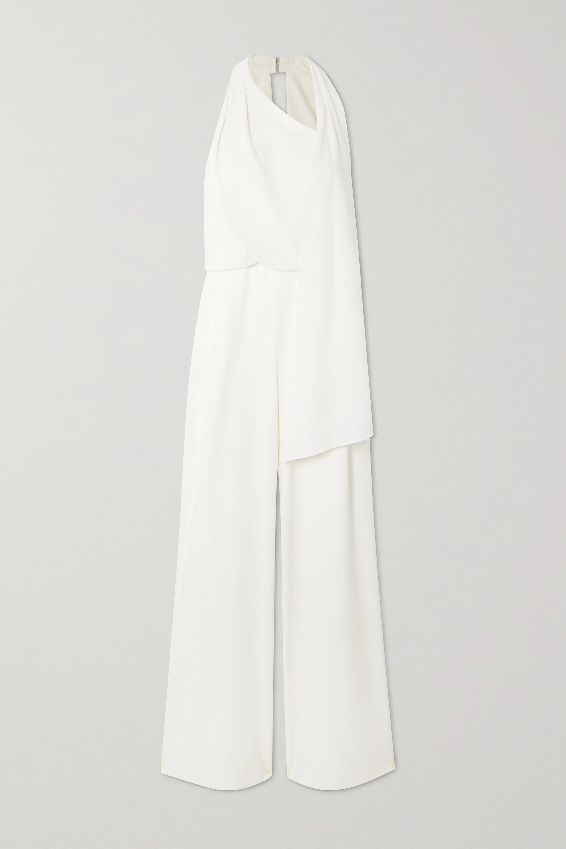 Halston Scarf-detail draped crepe jumpsuit