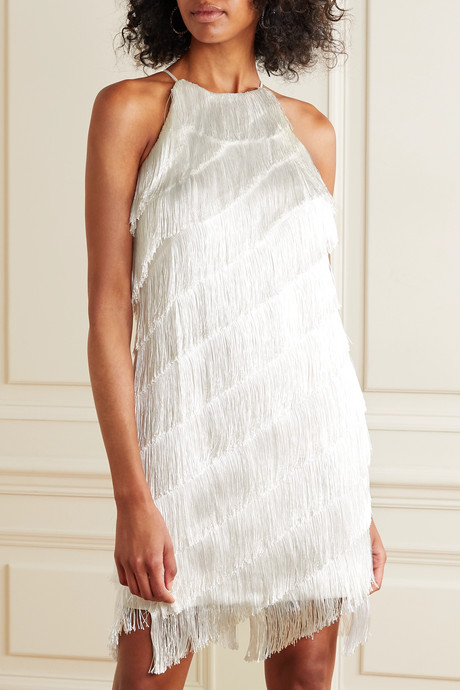 Fringed crepe dress
