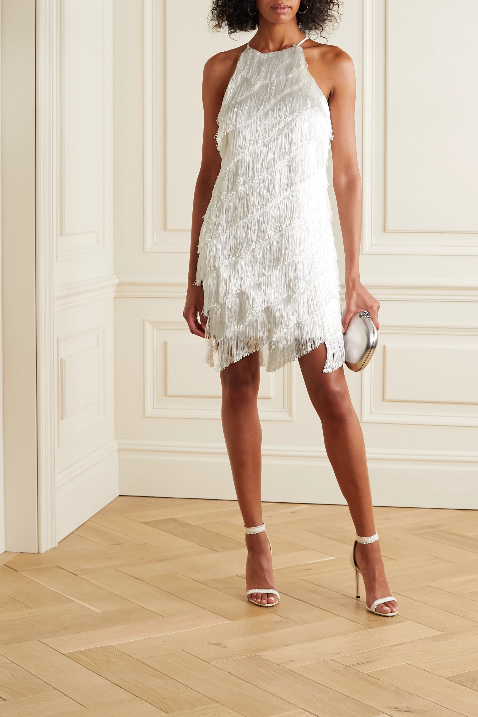 Halston Fringed crepe dress