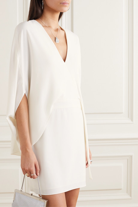 Cape-effect draped crepe mini dress