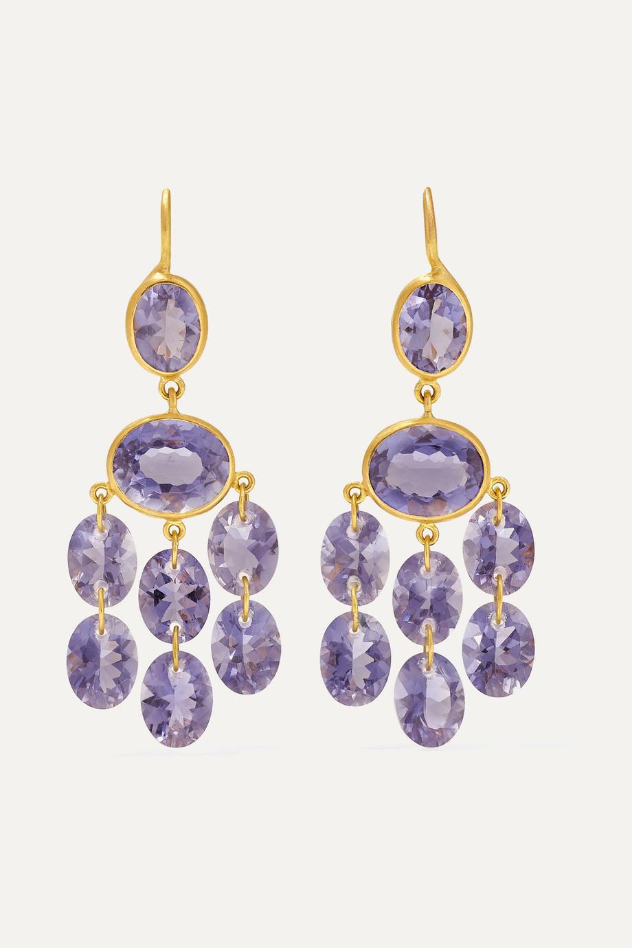 Marie-Hélène de Taillac Precious Chandeliers 18-karat gold iolite earrings