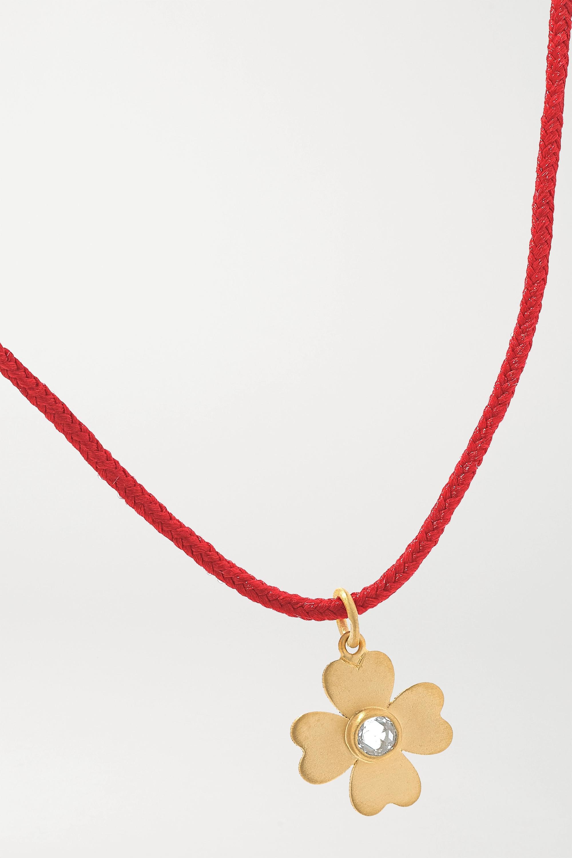 Marie-Hélène de Taillac Clover 18-karat gold, cord and diamond bracelet