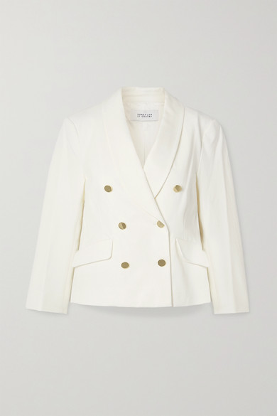 10 Crosby by Derek Lam - Myra Double-breasted Cotton-blend Crepe Blazer - Cream