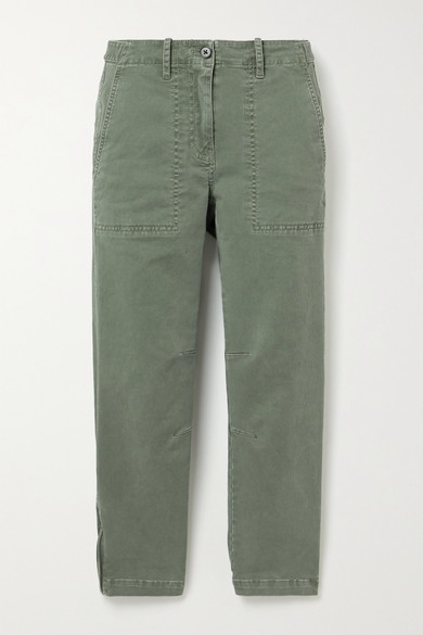10 Crosby by Derek Lam - Cropped Cotton-twill Tapered Pants - Army green