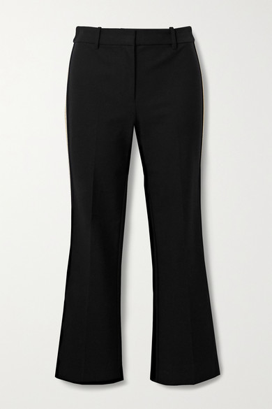 10 Crosby by Derek Lam - Corinna Cropped Striped Stretch-cotton Twill Flared Pants - Black