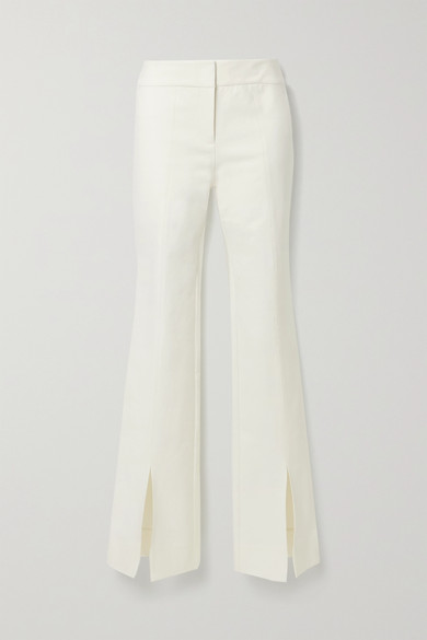 10 Crosby by Derek Lam - Maeve Cotton-blend Crepe Flared Pants - Cream