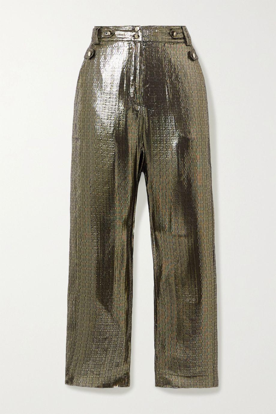 10 Crosby by Derek Lam Persis silk and Lurex-blend straight-leg pants