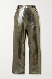 10 Crosby by Derek Lam Persis silk and Lurex-blend straight-leg pants