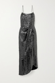 10 Crosby by Derek Lam Lexis asymmetric wrap-effect sequined mesh dress