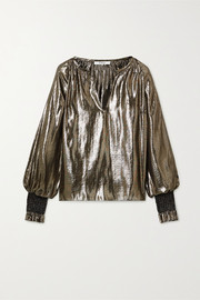 10 Crosby by Derek Lam Helena oversized silk and Lurex-blend blouse