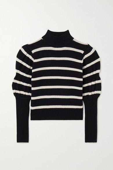 10 Crosby by Derek Lam - Elani Cropped Striped Merino Wool Sweater - Black