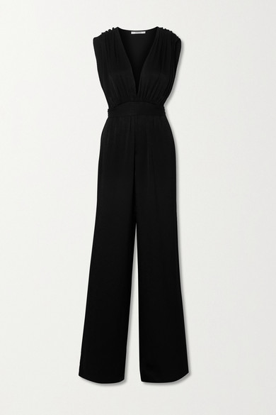 10 Crosby by Derek Lam - Astrid Satin-jacquard Jumpsuit - Black