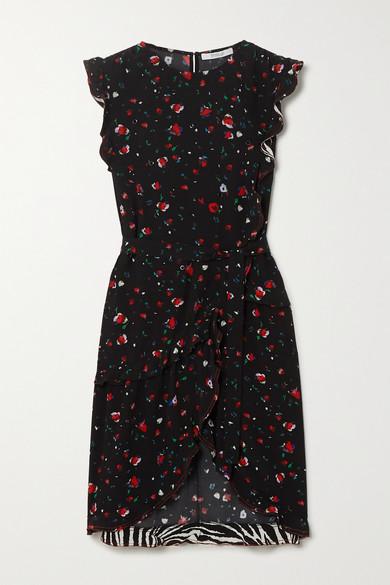 10 Crosby by Derek Lam - Lyra Ruffled Printed Crepe Wrap Dress - Black