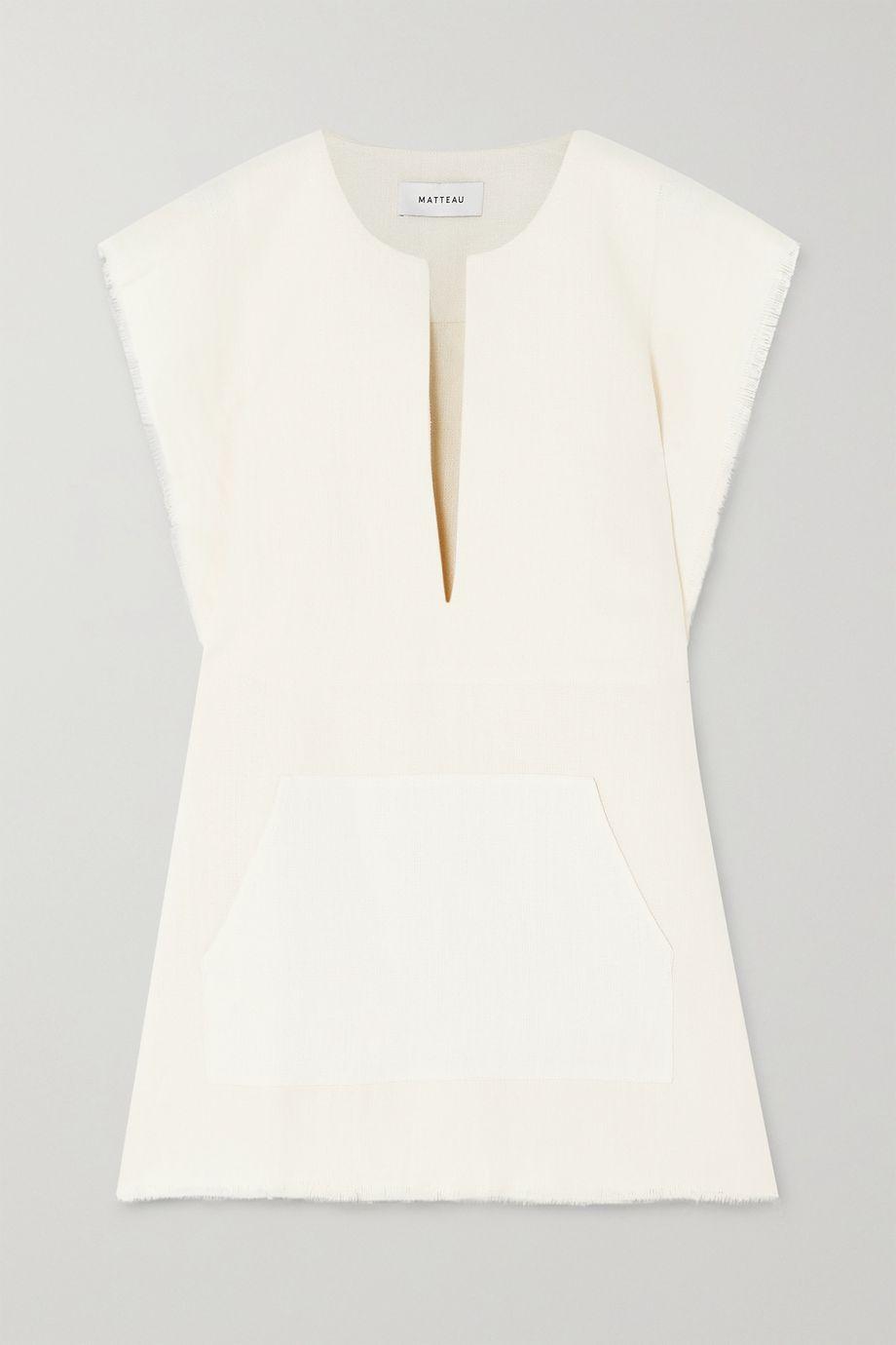 Matteau Oversized frayed linen poncho