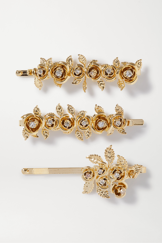 Rosantica Lirica set of three gold-tone and crystal hair slides