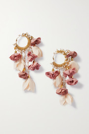 Sentiero gold-tone, faux pearl and chiffon earrings