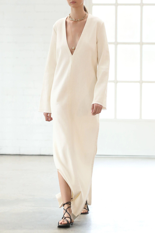 Matteau Frayed linen maxi dress