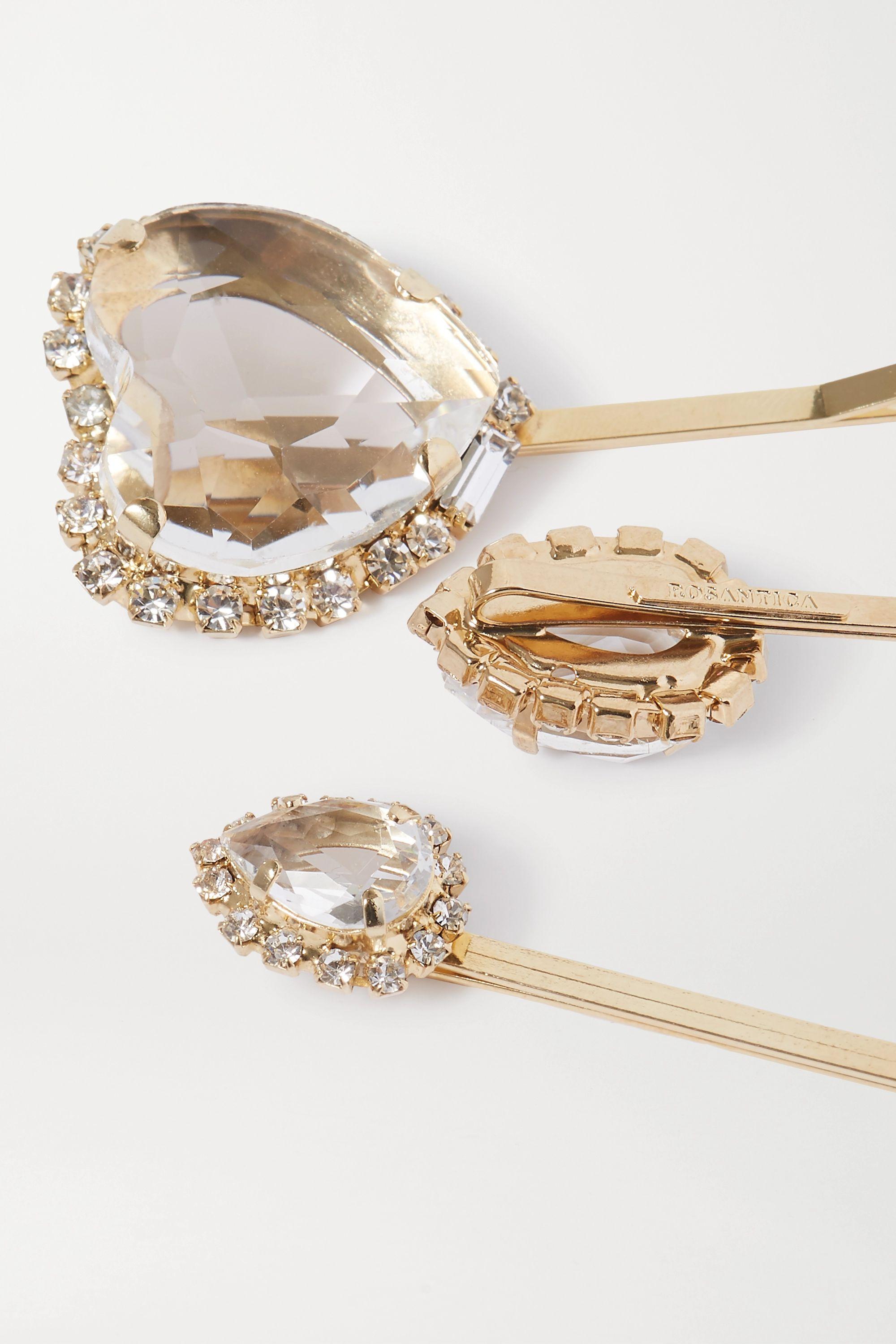 Rosantica Gold-tone crystal hair slides