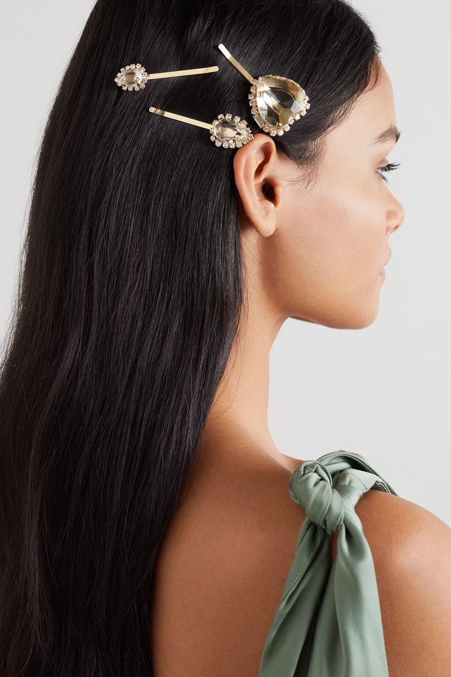 Rosantica Gold-tone crystal hair slides