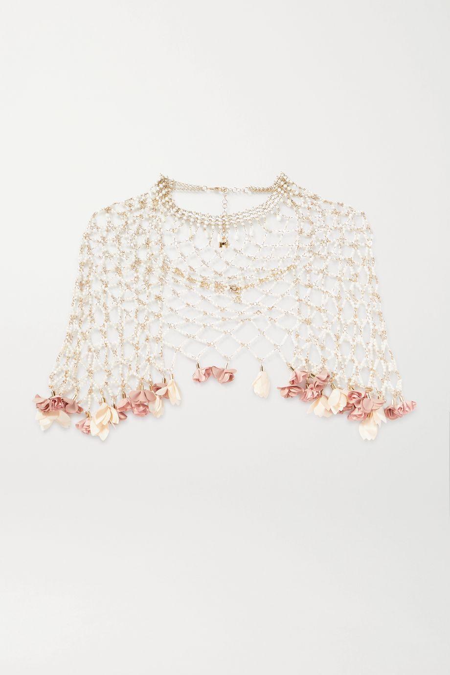 Rosantica Sentiero gold-tone, faux pearl and chiffon cape