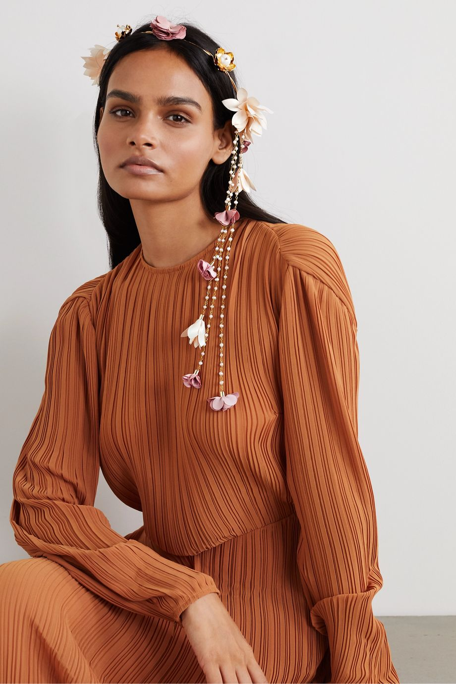 Rosantica Chiffon, gold-tone and faux pearl headband