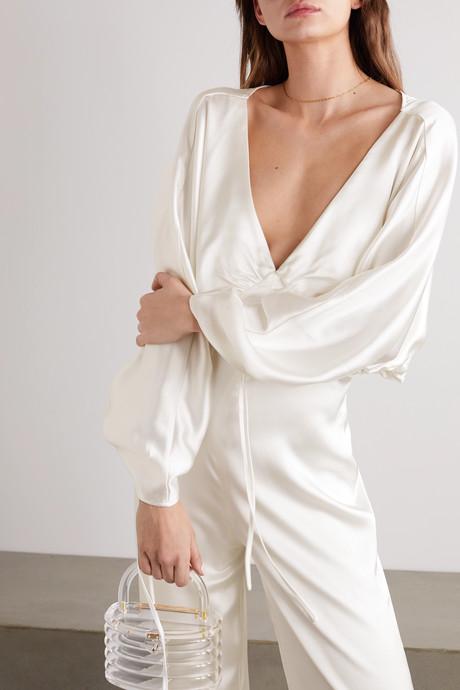 Backless washed-satin jumpsuit