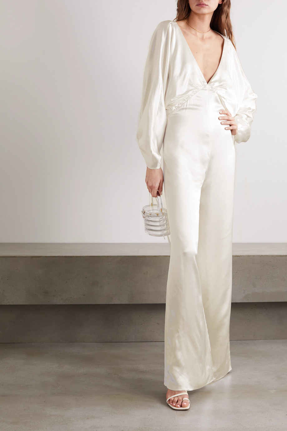 Vanessa Cocchiaro Backless washed-satin jumpsuit