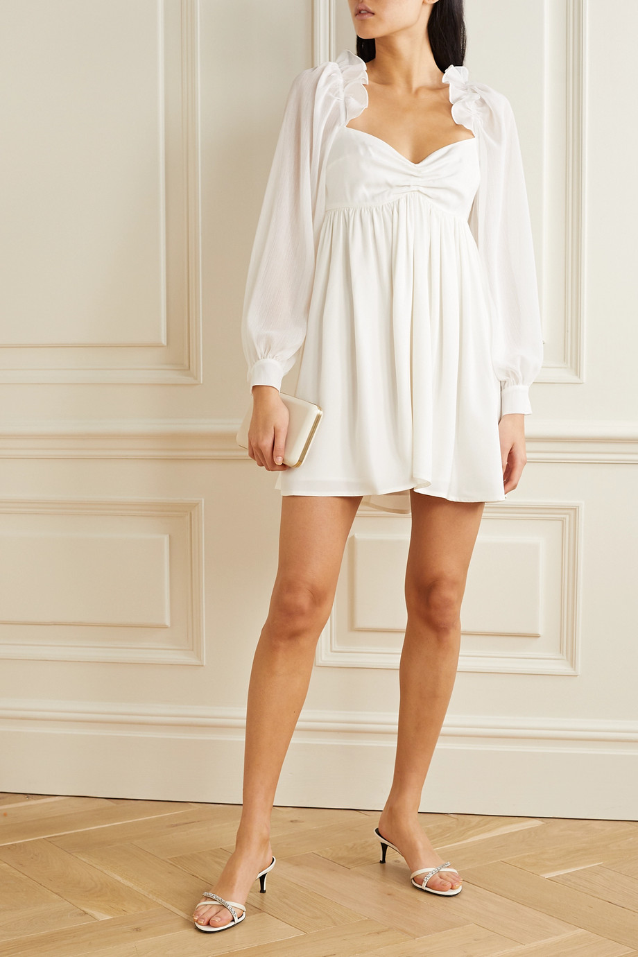 Vanessa Cocchiaro Charlotte ruffled crepe and metallic crepon mini dress