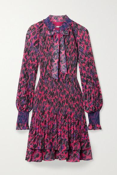 10 Crosby by Derek Lam - Eugenia Printed Plissé-chiffon Mini Dress - Bright pink