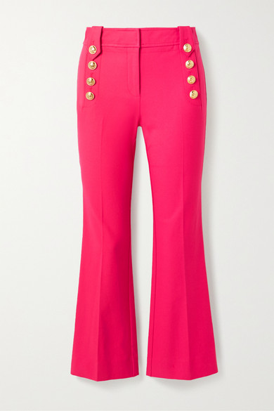 10 Crosby by Derek Lam - Robertson Cropped Button-embellished Cotton-blend Flared Pants - Magenta