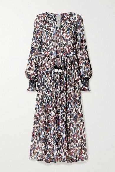 10 Crosby by Derek Lam - Nemea Tasseled Floral-print Plissé-georgette Midi Dress - Ecru