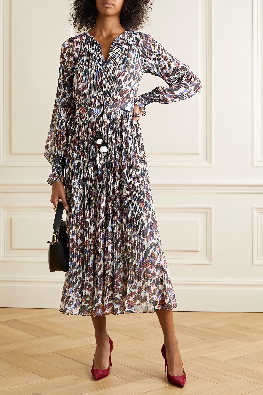 Derek Lam 10 Crosby Nemea tasseled floral-print plissé-georgette midi dress