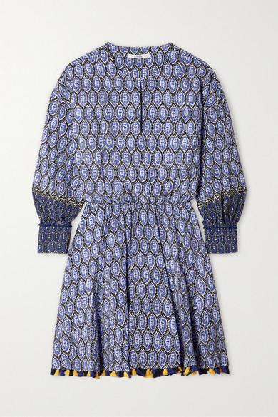10 Crosby by Derek Lam - Cassia Tasseled Silk Crepe De Chine Mini Dress - Blue