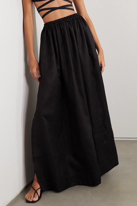 Pleated linen and cotton-blend maxi skirt