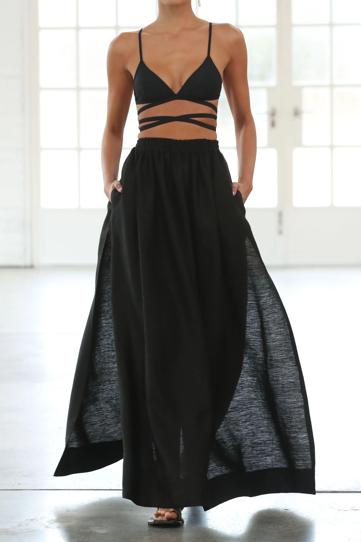 Matteau Pleated linen and cotton-blend maxi skirt