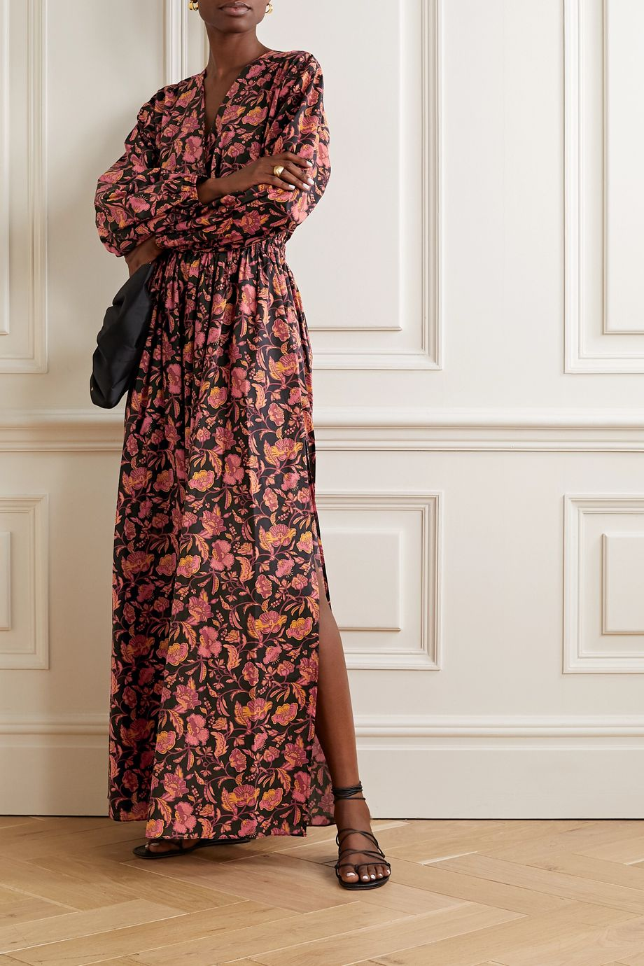 Matteau Open-back floral-print cotton-poplin maxi dress