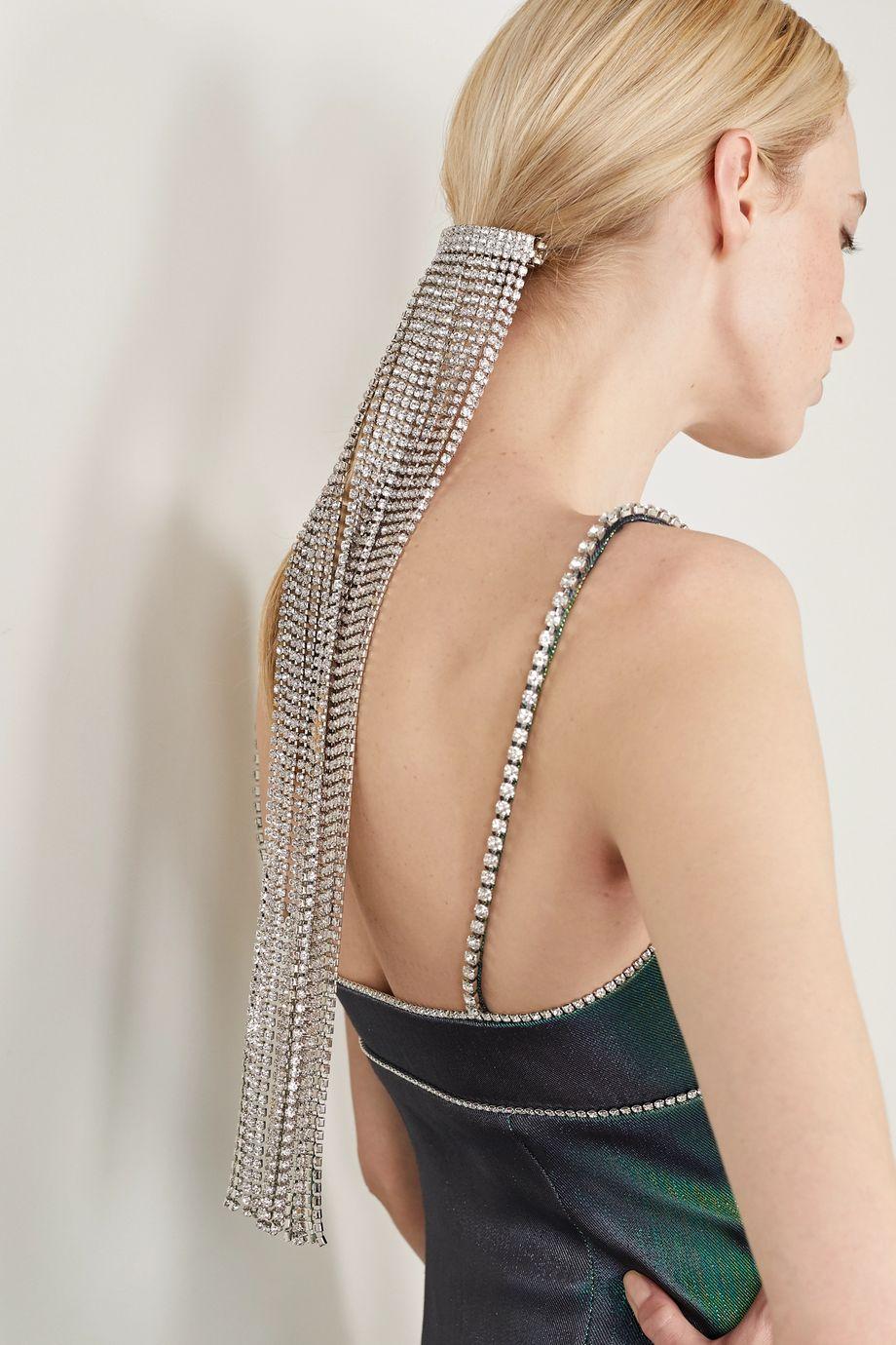 AREA Silver-plated crystal hair clip